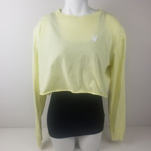 Playboy Pacsun Yellow cropped long sleeves top S